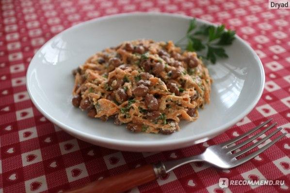 салат из моркови с фасолью, майонез из семечек