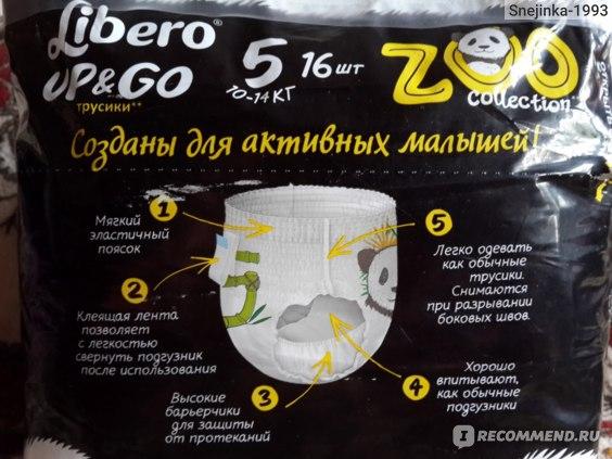 Подгузники-трусики Libero Up&Go Zoo Collection (обратная сторона)