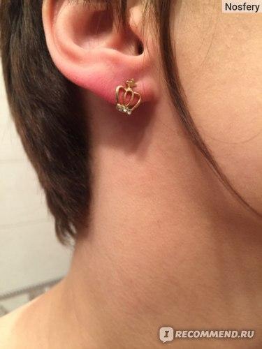 Серьги - гвоздики Aliexpress e024 2014 Fashion Cute Created Diamond Gold Crown Stud Earrings For Women free shipping фото