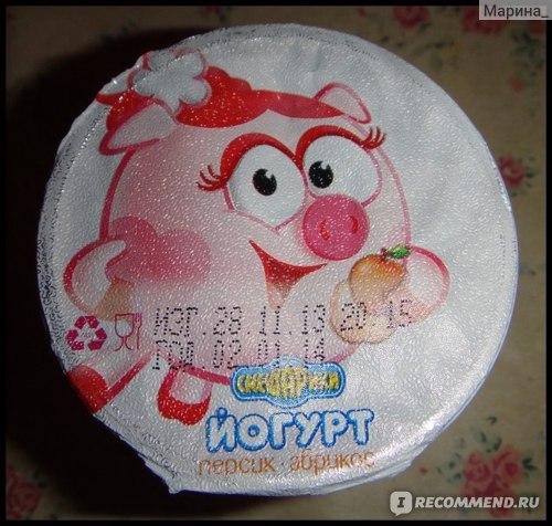 """Йогурт Смешарики """"Персик-абрикос"""" фото"""