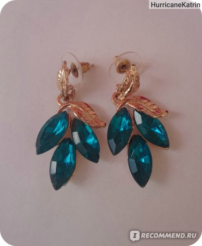 Серьги Aliexpress Fashion noble sparkling green leaves gem earrings фото