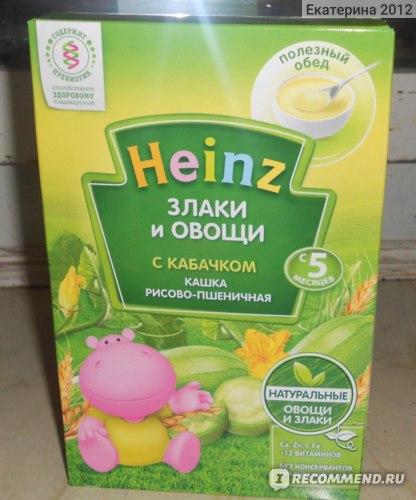 Каша Heinz Злаки и овощи с кабачком Кашка пшенично-рисовая  фото