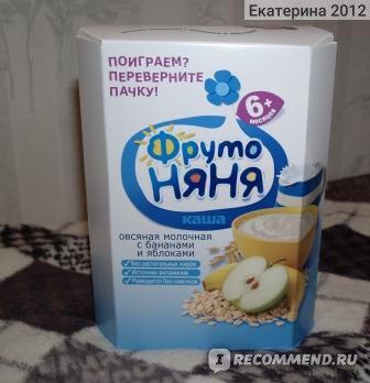 Каша Фруто Няня овсяная с молоком, яблоком и бананом фото