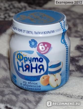 Пюре Фруто Няня из яблок и абрикосов со сливками фото