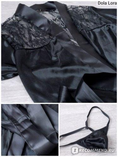 Халат Aliexpress Sexy Women Grown Sleep Wear Rayon Silk Sleepwear Nightdress Robes Pajamas фото