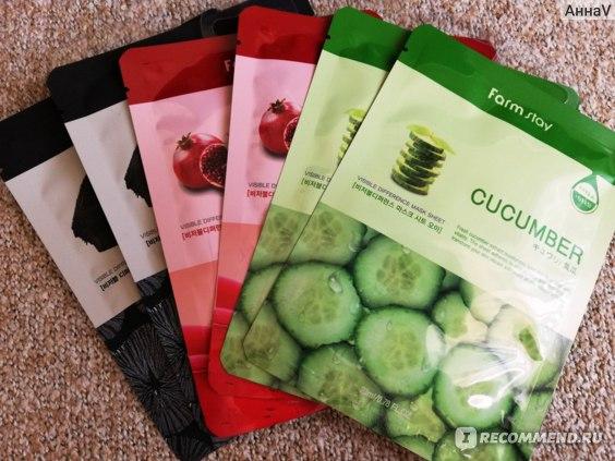 Тканевая маска для лица Farmstay Visible Difference Mask Sheet с экстрактом огурца Cucumber, отзыв