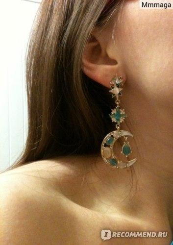 Серьги Aliexpress 2013 Latest Enamel Moon And Stars Simulated Crystal Zinc Alloy Fashion Design Drop Earrings For Women фото