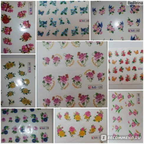 Наклейки для ногтей Aliexpress 11 Designs Flower & Butterfly Nail Art Decals Wrap Stickers Water Transfer False With Gold Bling Shipping фото