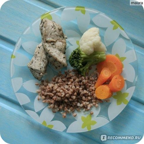 индейка и овощи на пару