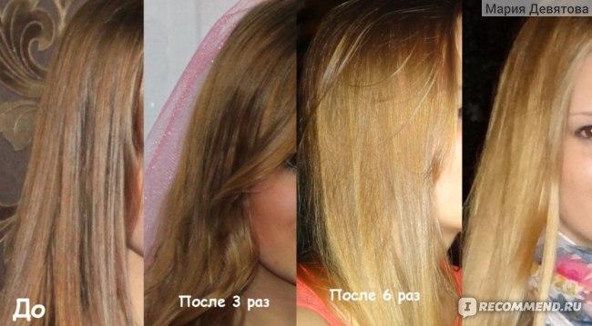 Фото до и после осветления корицей