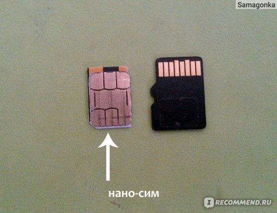 Размер нано-сим в сравнении с микро-сд