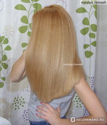 Волосы после применения геля Биосилк в качестве термозащиты с выпрямителем