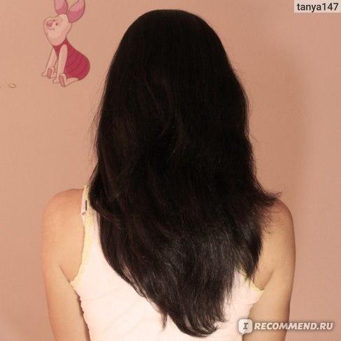 ПОСЛЕ: видно, что волосы более послушные, лежат лучше
