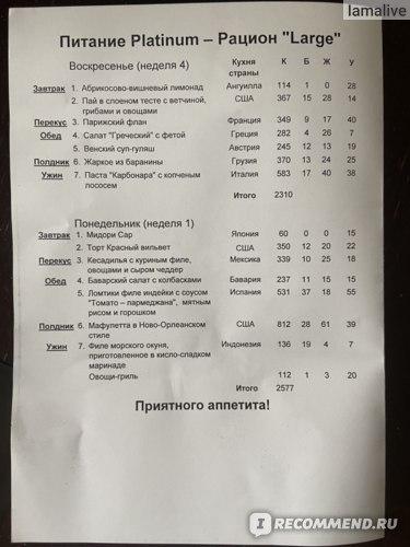 Пример меню - рацион Platinum, размер L