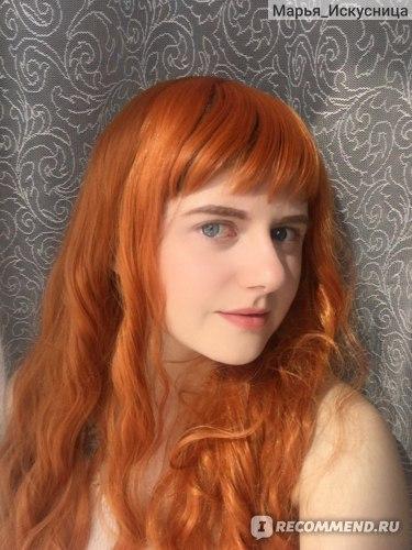 Парик Aliexpress Long Wavy Wings For Black Women Synthetic Hair Orange Brown Wigs With Bangs Heat Resistant Wig фото