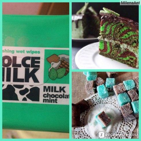 """Влажные салфетки Dolce milk Освежающие """"Молоко, шоколад и мята"""" фото"""
