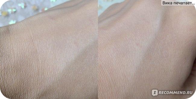 слева - только нанесен, справа - через 10 минут