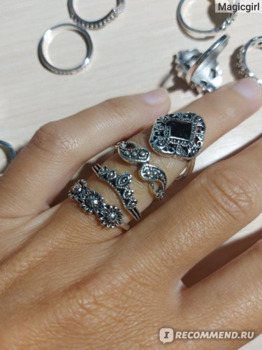 Кольцо Aliexpress RAVIMOUR 7 Style Vintage Knuckle Rings for Women Boho Geometric Flower Crystal Ring Set Bohemian Midi Finger Jewelry Bague Femme фото
