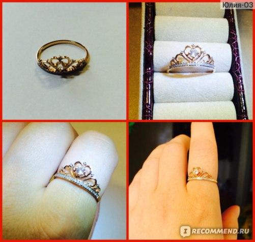 "Кольцо ""Корона"", золото, 26 бриллиантов, 1 топаз"