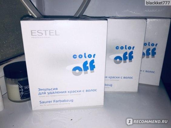 Эмульсией для удаления стойких красок с волос Estel Color Off.