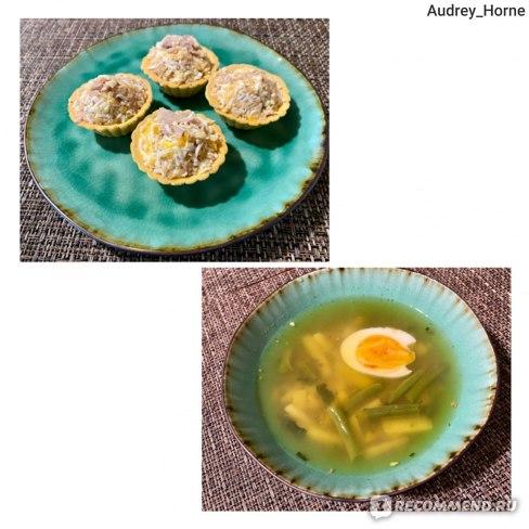 тарталетки с тунцом\овощной суп