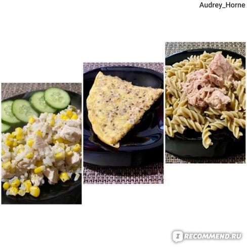 Курица с рисом, омлет без молока, макароны с тунцом