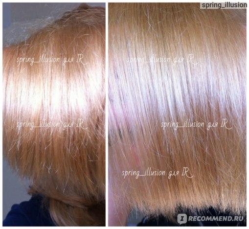 Слева - после Joico Styling Oil, справа - после Alterna Kendi Oil