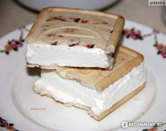 Мороженое Айсберри Вологодский пломбир Сэндвич в печенье с клюквой