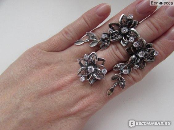 Серьги и кольцо  Красная Пресня серебряные с фианитами Арт. 3381314