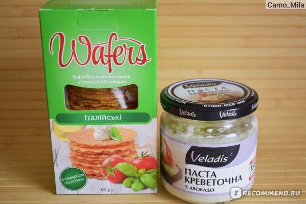 Паста креветочная Veladis с авокадо и Вафли итальянские Wafers Своя Линия