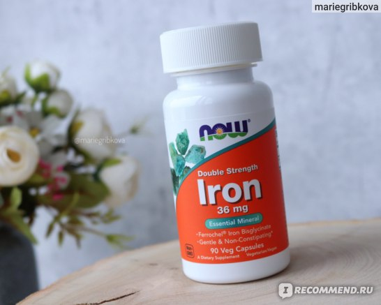 Витамины Now Foods Iron, 36 mg Железо фото