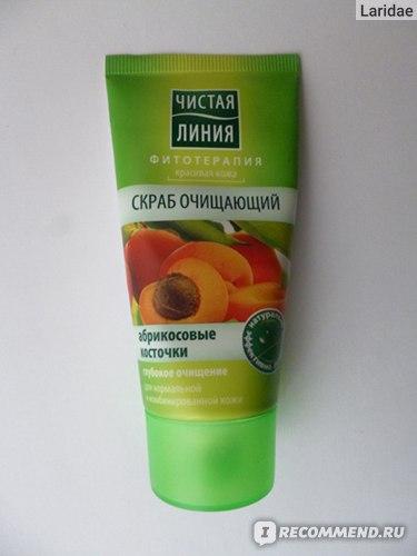 Скраб для лица Чистая линия Очищающий с абрикосовыми косточками фото
