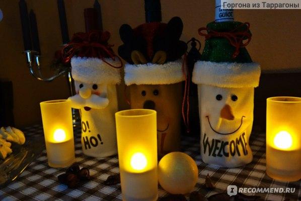 Новогодний чехол для бутылки Aliexpress Smiry 1 Pc Santa Claus Red Wine Bottle Cover Bags Cute Flannelette Christmas Gift Holders Dinner Table Decoration Clothes фото