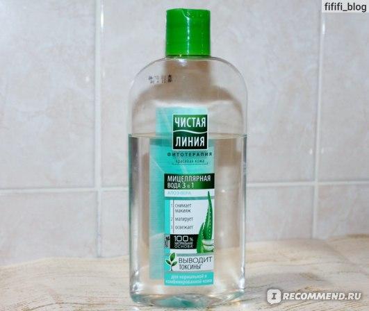 Мицеллярная вода Чистая линия 3-в-1 для нормальной и комбинированной кожи фото