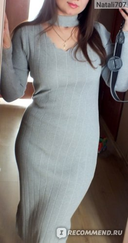 Платье AliExpress Autumn and winter women sexy V neck knit dress autumn slim long sleeved Gown Dress фото