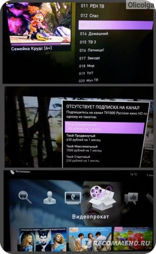 Список каналов, подключение услуги, меню приставки.