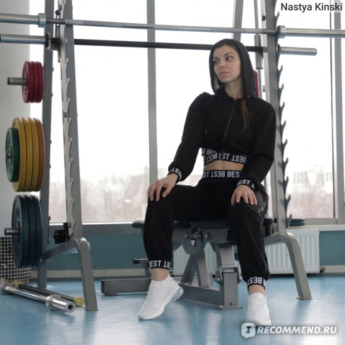 Спортивный костюм AliExpress Belleziva Letter Webbing Splicing Hooded Navel Sports Suit Women Tracksuits Running Gym Fitness Sport Outfit Workout Clothing фото