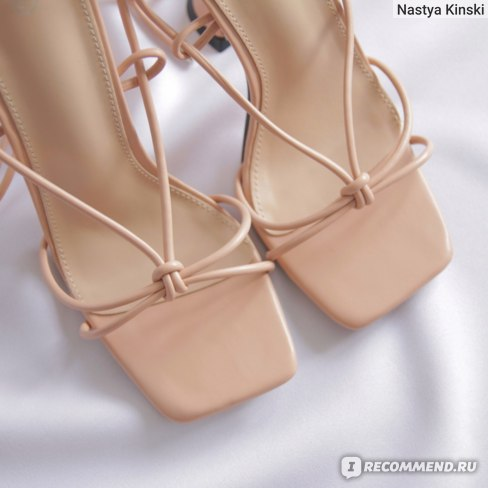 Босоножки Aliexpress Aneikeh Summer Woman Shoes Sandals Basic Pu Fashion Cross-tied Spike Heels Lace-Up Party Pumps size 35- 42 Black White Apricot фото