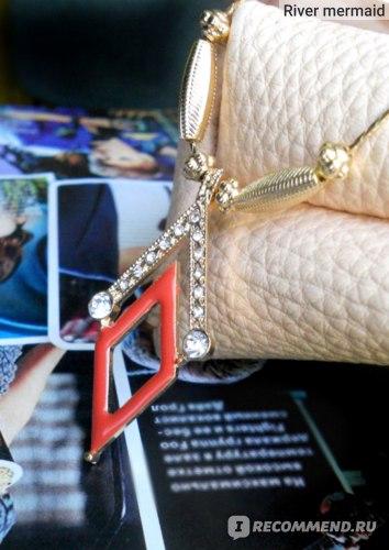 Подвеска Aliexpress New Coming Gold Chain with Red Enamel and Rhinestone Cute Geometric Rhombus Pendant Necklace Female Jewelry фото