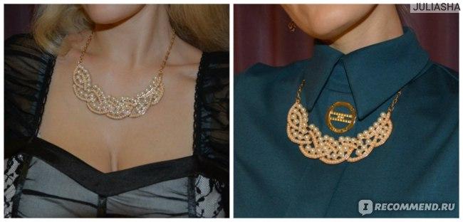 Колье Aliexpress Fashion beads Necklace False Collar Necklace Pearl Hollowed Golden ChokerPendant PMHM015 фото
