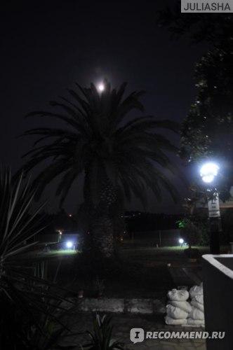 Сверху луна, а по бокам свет от ламп :)