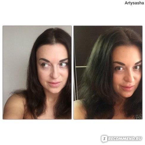 Слева- чистые высохшие волосы, справа - проработанный объём у корней