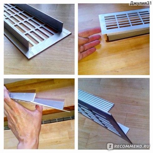 Вентиляционная металлическая решетка для подоконников и столешниц Europlast. Внешний вид изделия из разных ракурсов.