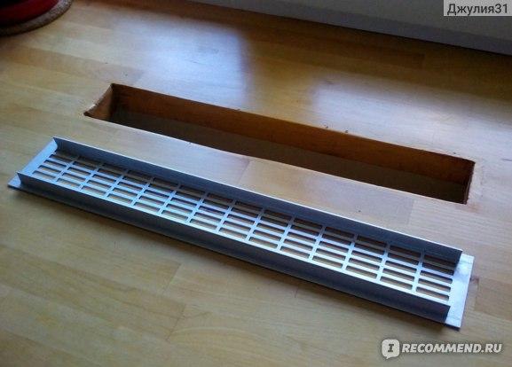 Вентиляционная металлическая решетка для подоконников и столешниц Europlast.  Оборотная сторона изделия.