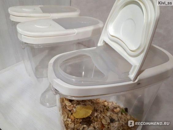 Банка для сыпучих продуктов с крышкой IKEA прозрачная, белая 365+