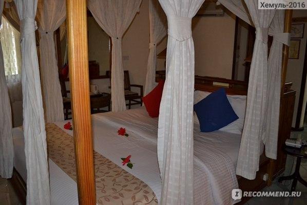 Огромная кровать в центре со шторками