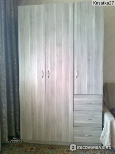 Гардероб ИКЕА Тодален с 3 дверцами+3 ящика, серо-коричневый фото