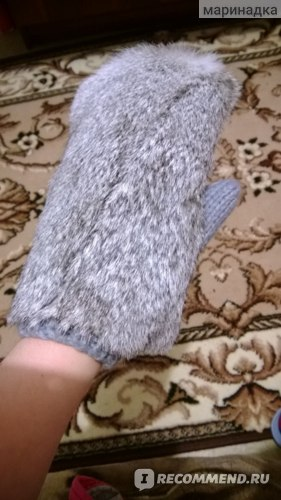 Варежки Aliexpress Fashion womens winter thickeners gloves yarn lining warm design black grey natural rabbit fur mitten фото
