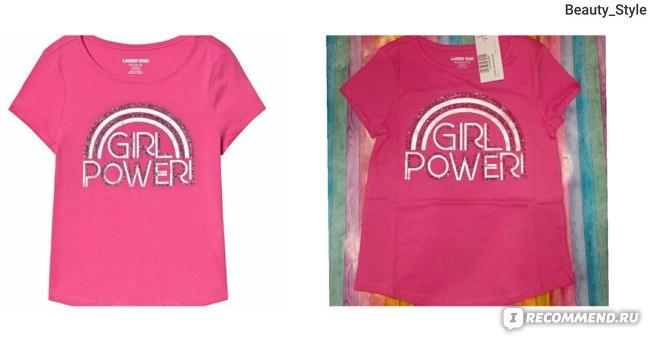 Футболка Lands' End Pink Girl Power Foil Print Tee арт. 449878_II7. Ожидание/реальность