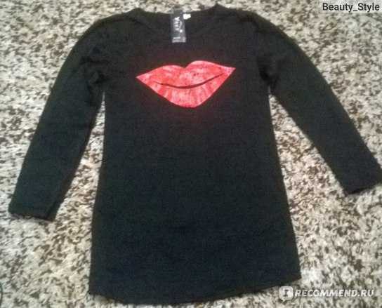 Кофта AliExpress New fashion sexy red lips long-sleeved blouse casual dew chest shirt Kiss Print L-Sleeve Shirt Top Size S M L Black Purple T5387 фото